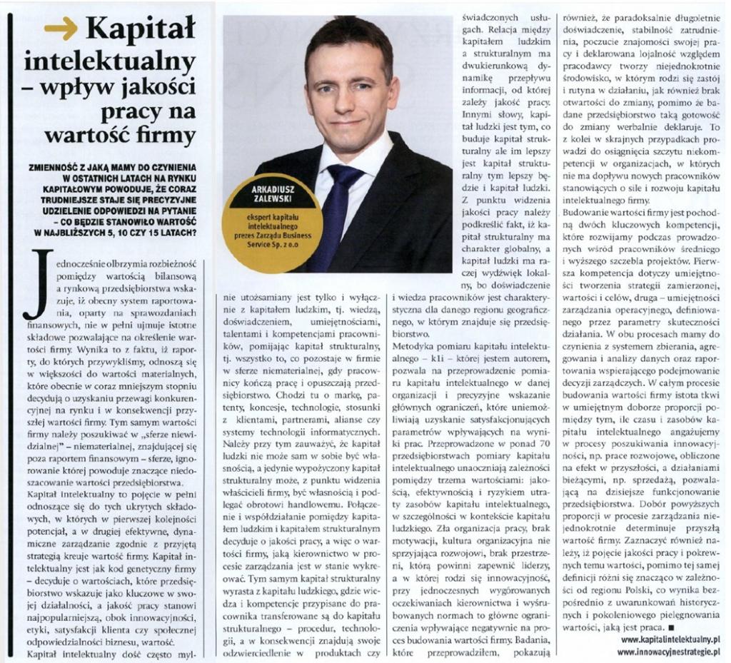 Arkadiusz Zalewski -Kapitał Intelektualny, Manager MBA